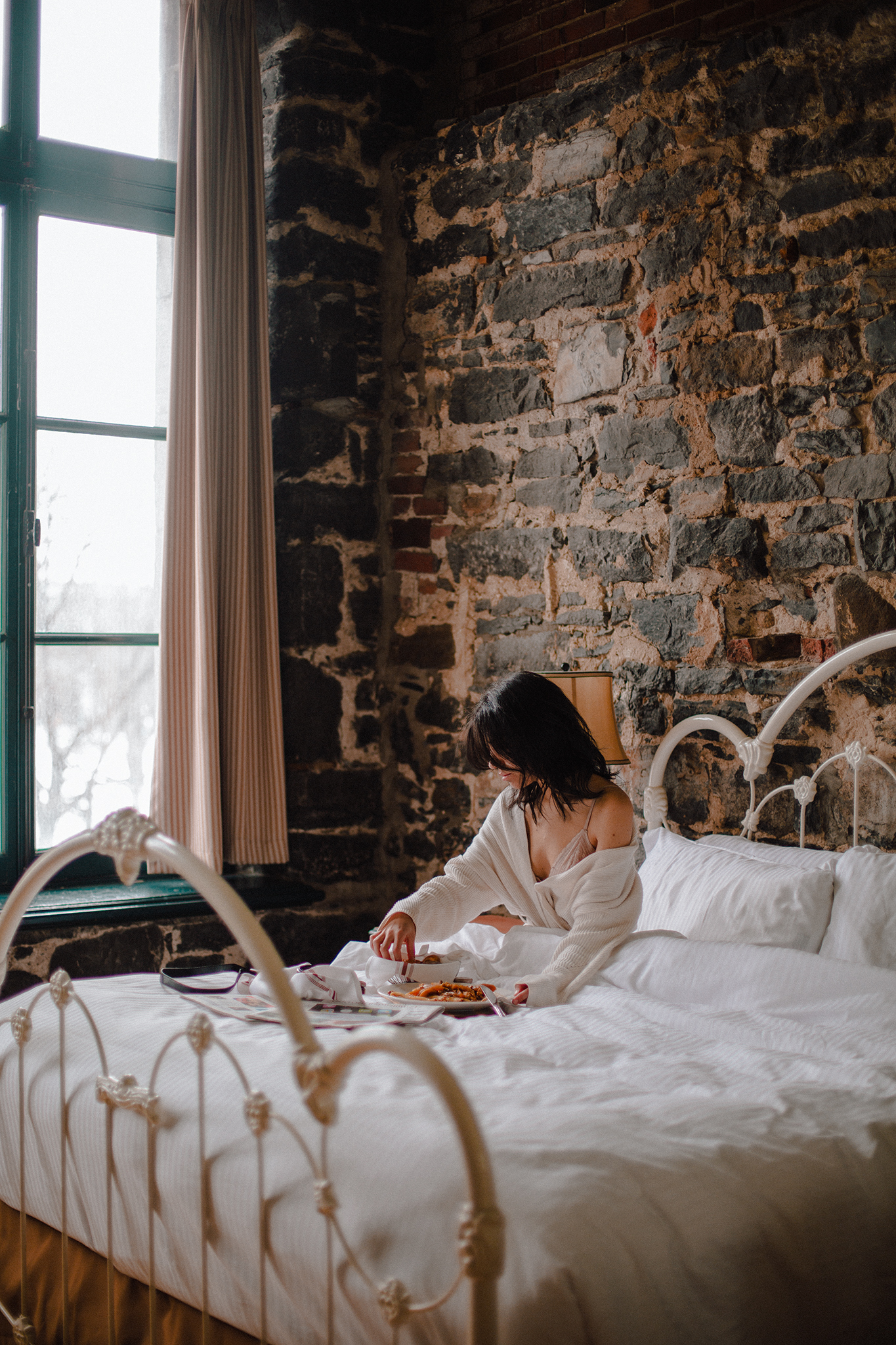 Breakfast in bed on a Sunday at Auberge du VIeux-Port in the old port of Montreal, Québec